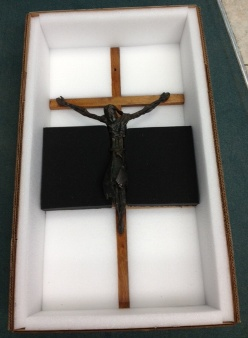 Expertly and carefully created custom wooden crate for a crucifix